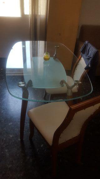 Mesa comedor de cristal de segunda mano en Valencia en WALLAPOP