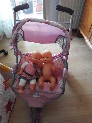Carrito bebé gemelas de juguete
