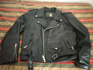 Chaqueta cuero piel Moto rock hombre
