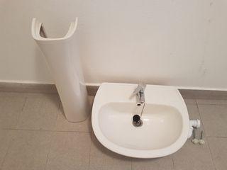 2 lavabos completos con pie y griferia