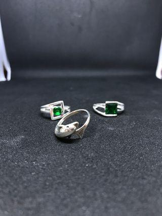 Liquidación 3 anillos de plata talla 12.