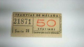billete Tranvías de Málaga antiguo