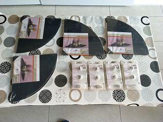 4 lejas de cristal color negro