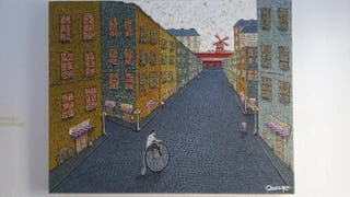 """calles de París """" técnica líneas entrelazadas ,"""