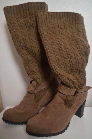 Botas tacón marrón invierno zapatos talla 40