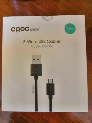 Pack 3 Micro USB Cables 1,2 metros blancos