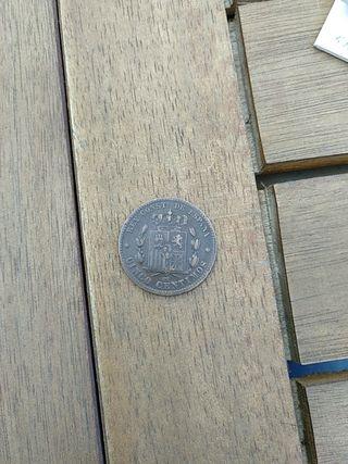 moneda antigua 5 centimos Alfonso XII 1877