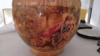 Jarrón. Tibor. Ceramica. Firmado. Pintura vidriada