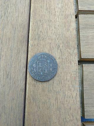 moneda antigua 25 centinos de real 1855 Isabel II