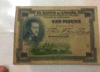 Billete de 100 pesetas con sello en seco. 1925.