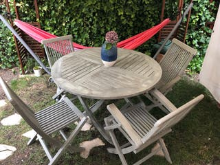 Mesa 4 sillas jardin exterior