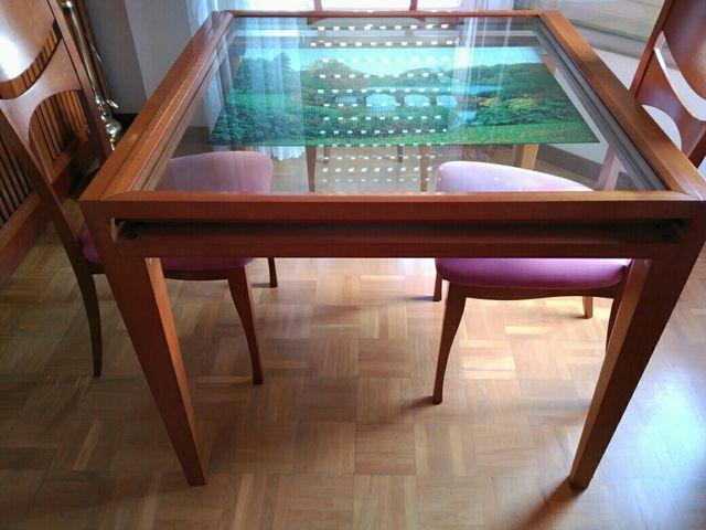 Mesa extensible para comedor de madera y cristal de segunda mano por ...