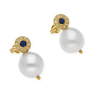 Pendientes Diamantes Zafiros y Perlas en Oro 18k