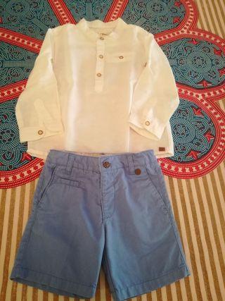 camisa lino blanca sfera niño 2-3 años