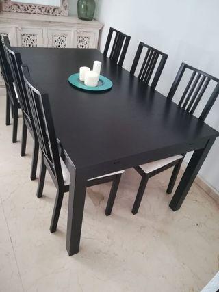 Mesa comedor negra ikea extensible de segunda mano por 120 € en ...