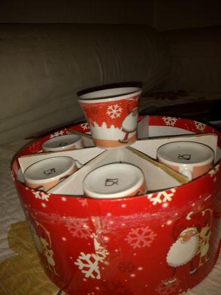 juego de cafe con adornos de Navidad