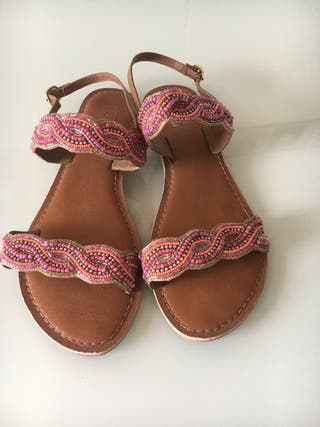 Sandalias piel camel y rosa
