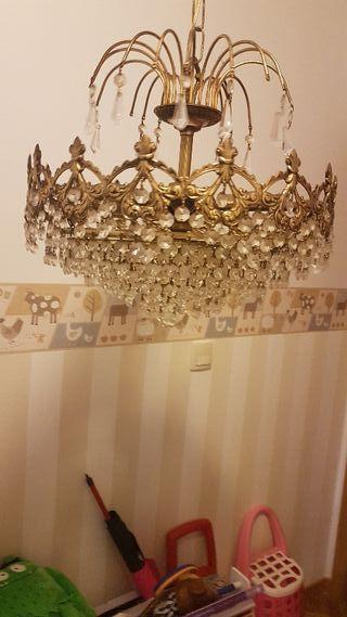 juego de lamparas vintage bronce y cristal tallado