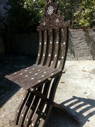 silla plegable incrustaciones de nacar