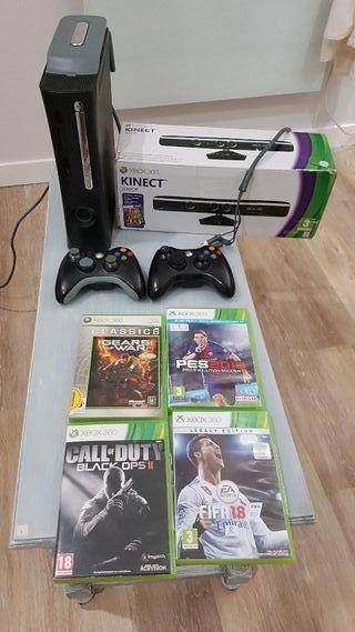 Xbox 360 120gb con kinect, antena wifi y 2 mandos