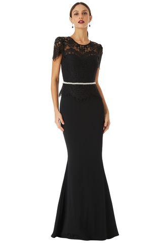 Vestido negro de gala, fiesta, madrina, elegante