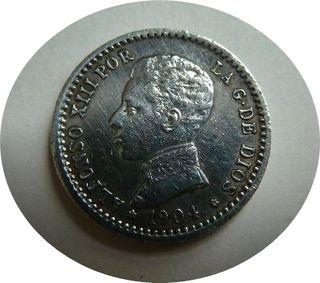 Alfonso XIII, 50 Céntimos de 1904, estrellas *0 *4
