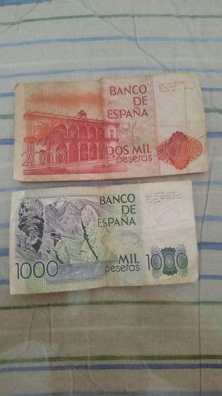 billete de 2000 y de 1000 pesetas.