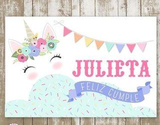 cumpleaños letreros unicornio