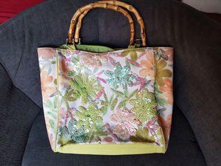 Bolso asa de MADERA verde artesano