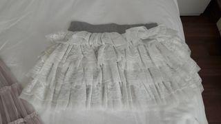 Falda volantes encajes blanca talla 10 a 12