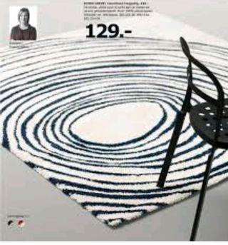 Alfombra Ikea Eivor Cirkel azul/blco 2x2m.Sin usar