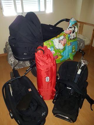 Carrito de bebe, cuna de viaje y manta de juegos