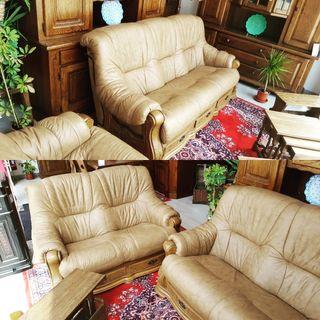 Sofas de piel Crema y Roble Macizo