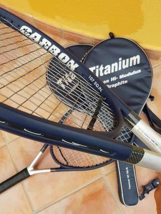 2x Raquetas tenis Titanium Carbon