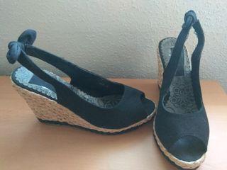zapatos tela y cuña esparto t.38