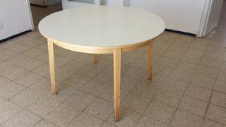 Mesa comedor extensible redonda blanca