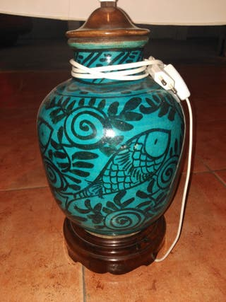 Lampara con base de ceramica de Teruel