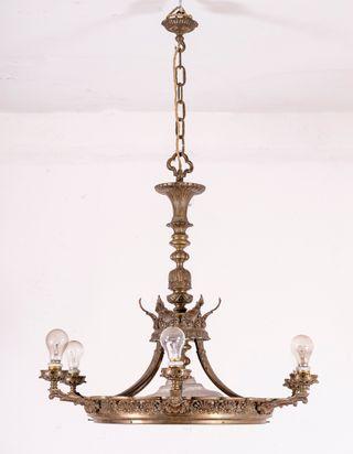 Lámpara Antigua De Techo En Bronce y Cristal