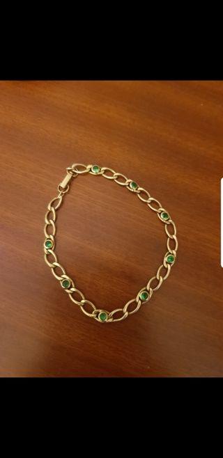 pulsera esmeraldas y oro 18kt