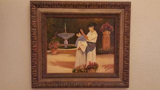 "Cuadro ""Las cortesanas"" de Émile Toural, 65x56cm"