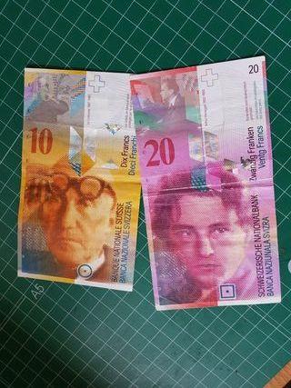 billetes suizos 10 y 20 francos