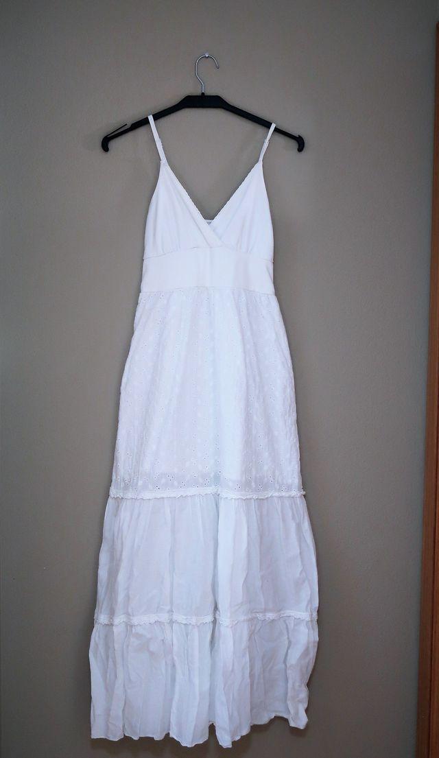 Vestido Largo Blanco Ibicenco 38 Con Bordados De Segunda Mano Por - Vestido-blanco-largo-ibicenco