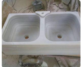 fregadero doble seno mármol blanco