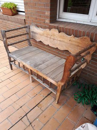 Banco de madera r stico de segunda mano en wallapop - Banco de madera rustico ...