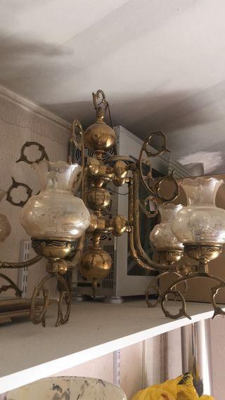 Lámpara antigua de techo bronce