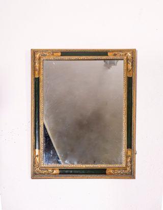 Espejo Antiguo Policromado De Madera y Pan De Oro