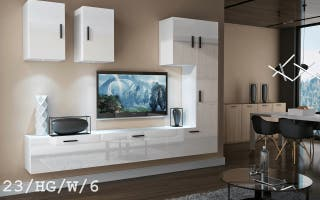 Conjunto de muebles MERSIN- blanco/negro brillante