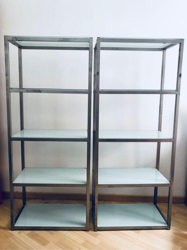Dos Estanterias De Aluminio Y Cristal Templado De Segunda Mano Por - Estanterias-cristal