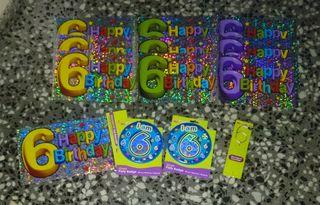 6 cumpleaños. 6 banners, 2 badges, 1 vela bengala.