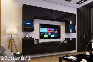 Mueble para salón VERO negro/blanco brillante